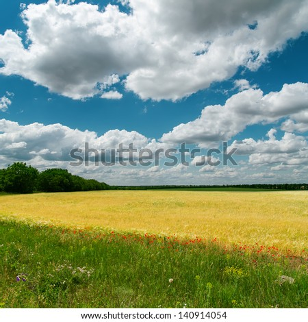 dramatic clouds over fields