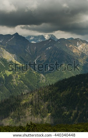 dramatic clouds over high Tatra mountains peaks at summer hikking trail.