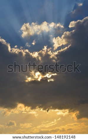 Dramatic Clouds Silver Lining - stock photo