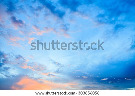 Dramatic Clouds with twilight Blue sky backgrounds - stock photo