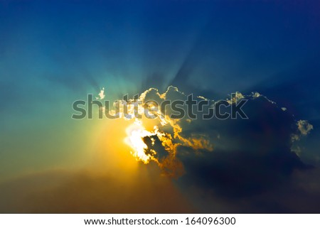 dramatic cloudscape in blue sky  - stock photo