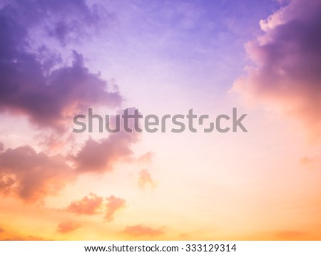 dramatic cloudscape in twilight with sunset - stock photo