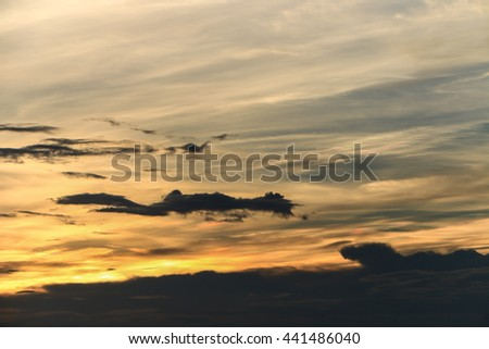 Dramatic cloudscape in twilight with sunset