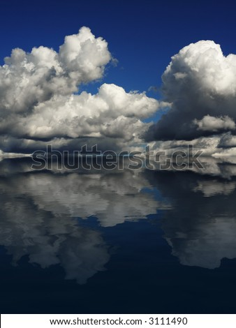 Dramatic cloudscape on a blue sky, reflecting in the ocean. - stock photo