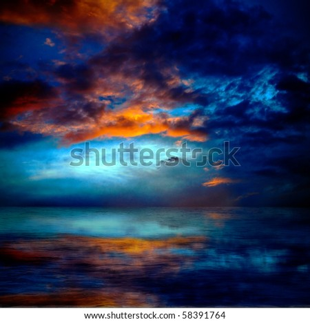dramatic cloudscape over water