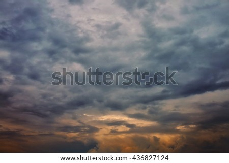 Dramatic cloudy sky with dark storm clouds - stock photo