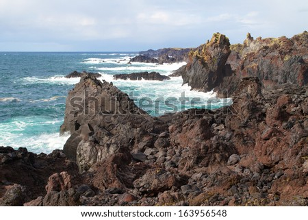 dramatic coastline of iceland - stock photo
