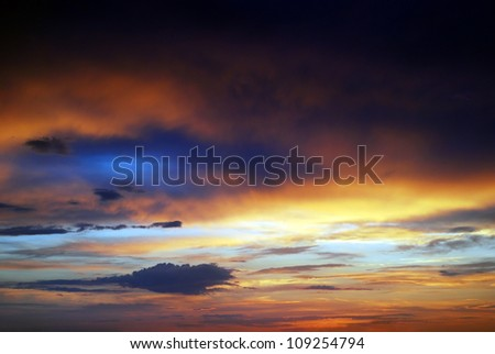 dramatic colored dark sunset clouds