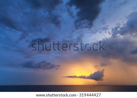 Dramatic colorful cloudscape, morning sky background photo