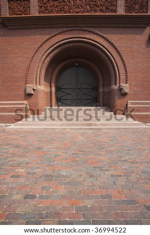 Dramatic Door at Harvard University Cambridge Massachusetts - stock photo