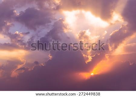 Dramatic Evening Sky with sun at twilight - stock photo