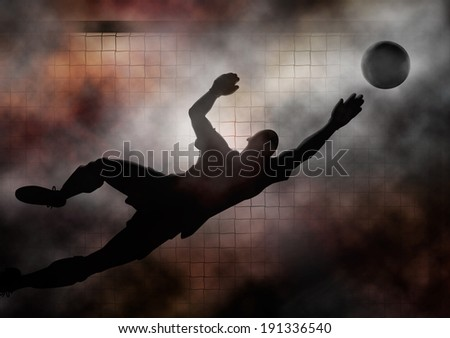 Dramatic illustration of a soccer goalkeeper diving to save a shot - stock photo