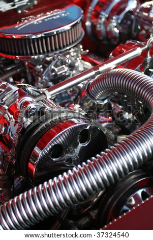 Dramatic image of a big block racing engine