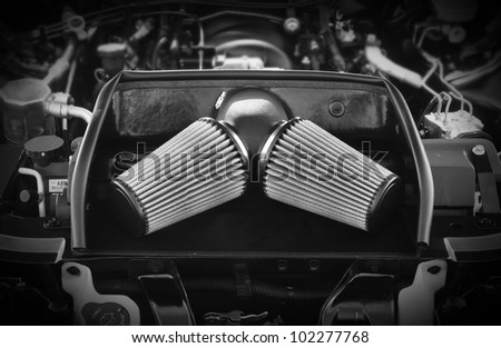 Dramatic image of high precision motor engine for car - stock photo