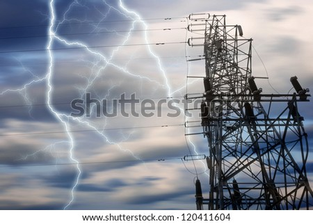 Dramatic Image of Power Distribution Station with Lightning Striking Electricity Towers - stock photo