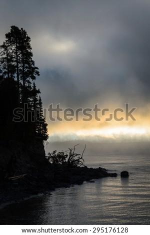 Dramatic Lake at Yellow Stone National Park - stock photo