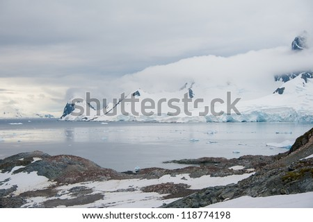 Dramatic landscape in Antarctica, storm is coming