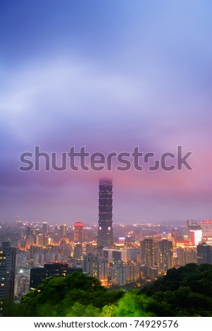 Dramatic landscape of clouds in modern city with skyscraper in night in Taipei, Taiwan.