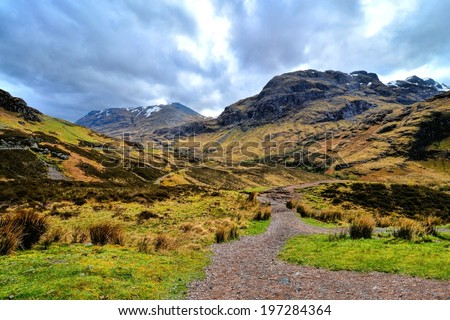 Dramatic landscape of Glen Coe during early spring, Scotland - stock photo