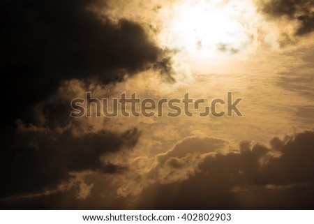 Dramatic Light with Sun Rays and Heavy Clouds above Mediterranean Sea