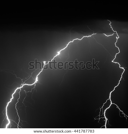 Dramatic Lightning Strike Black and White (Real Photo)