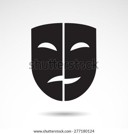 Dramatic masks - icons isolated on white background. - stock photo