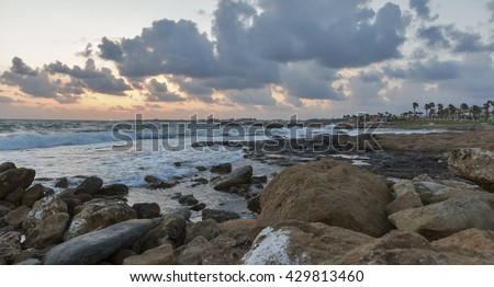 Dramatic Mediterranean Sea sunset in Paphos, Cyprus.