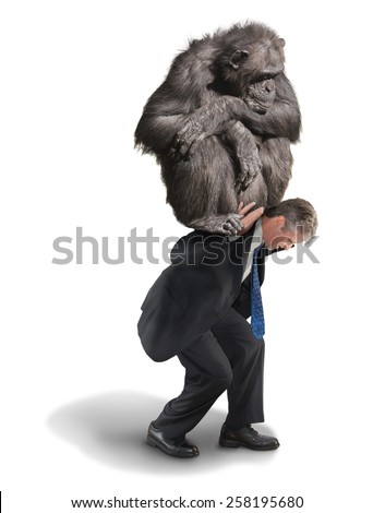 Dramatic Monkey on My Back image showing a man with a big chimp monkey on his back representing drug addiction, financial money problems and stress, smoking addiction and any other type of addiction. - stock photo