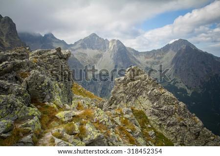 dramatic mountain landscape in high tatras - stock photo