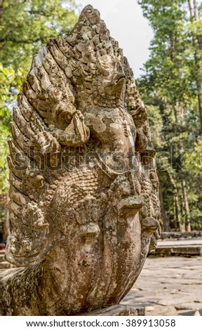 Dramatic Naga, snake, outside the 12th Century Banteay Kdei Temple, Cambodia built by King Jayavarman VII