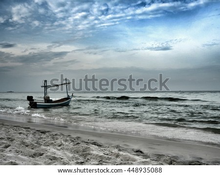 Dramatic of a boat in the sea