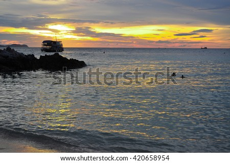 Dramatic of colorful sea and sunset sky with boats.sea background