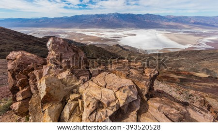 Dramatic panoramic view. Dante's View, Death Valley National Park. An abundance of natural beauty. - stock photo