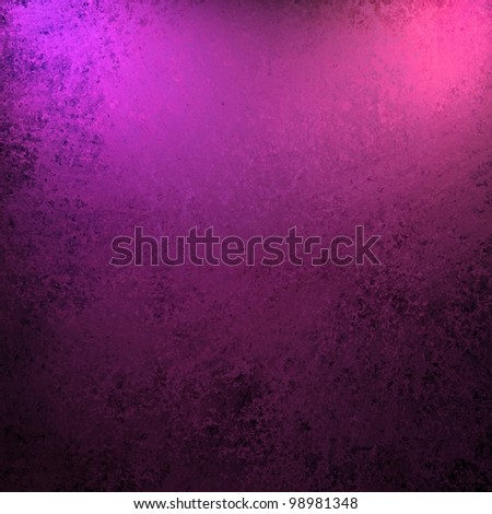 dramatic purple pink and black color background with old vintage grunge texture and bright spotlight on frame of border for copy space for announcement or invitation design layout - stock photo