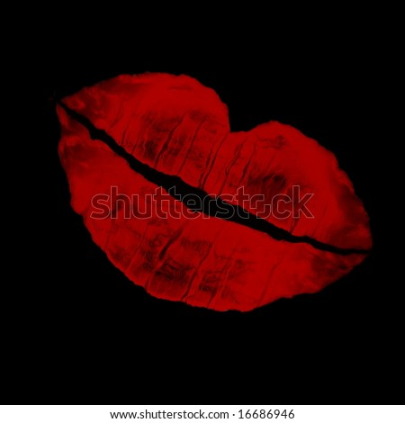 dramatic red lip imprint agaisnt a black background - stock photo