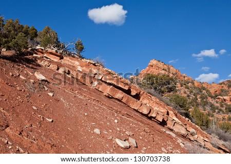 Dramatic red sandstone ridge at Kolob Canyon - stock photo