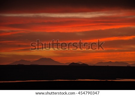 Dramatic red sunset on Altiplano platue, Bolivia