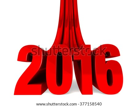 "Dramatic, red ""2016"" swoops down to stand boldly in front of the viewer.  Isolated on white."