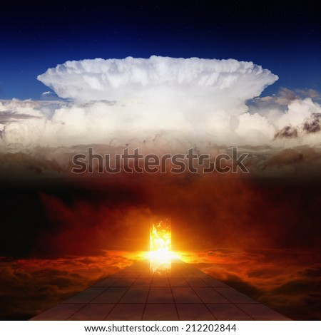 Dramatic religious background - burning doorway in dark red sky, road to hell, way to hell - stock photo