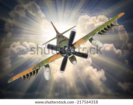 Dramatic scene on the sky. Old propeller fighter plane inbound from sun. Retro technology background.  - stock photo