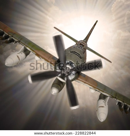 Dramatic scene on the sky. Old propeller plane inbound from sun. Retro technology background.  - stock photo