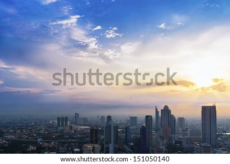 Dramatic scenery sunset of the city center at Bangkok, Thailand, Asia