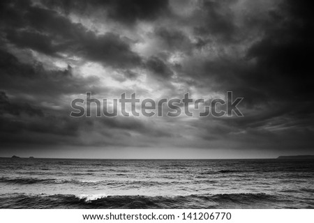 Dramatic Sea Scape with Dark Stormy Clouds