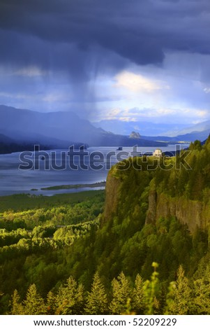 Dramatic skies on the Columbia River Gorge OR.