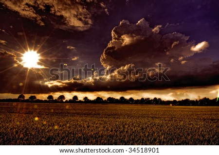 Dramatic sky after a thunderstorm - stock photo