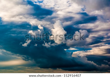dramatic sky and clouds at sunset (sunrise)