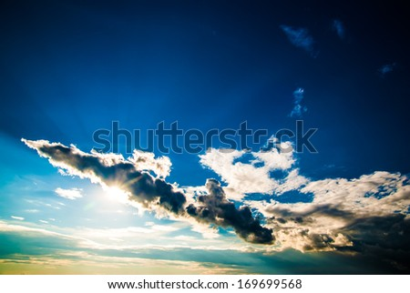 dramatic sky and clouds at sunset (sunrise) - stock photo