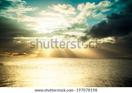 dramatic sky at sunset - stock photo