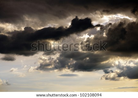 Dramatic sky before storm, sunset - stock photo