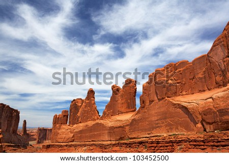 Dramatic Sky on Park Avenue in Utah's Arches National Park - stock photo